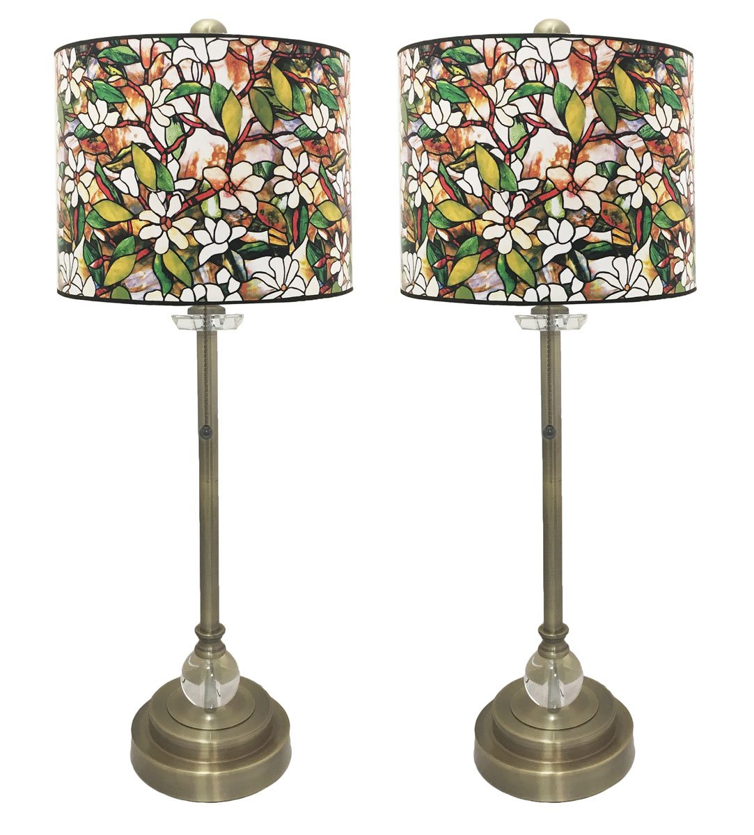 Royal Designs 28'' Crystal and Antique Brass Buffet Lamp with Magnolia Stained Glass Design Hard Back Lamp Shade, Set of 2