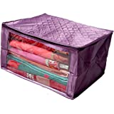 Kuber Industries™ Saree Cover Extra Large Size in Purple Quilted Satin (with Capacity of Upto 15 Sarees)