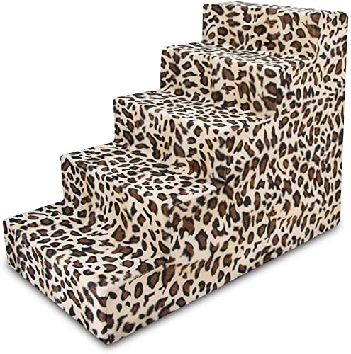 USA Made Pet Steps Stairs with CertiPUR-US Certified Foam for Dogs Cats by Best Pet Supplies – Animal Print, 5-Step H 22.5
