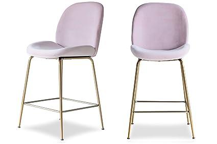 brand new f59fc a828b Edloe Finch Modern Velvet Counter Stools (Set of 2) Upholstered Blush Pink