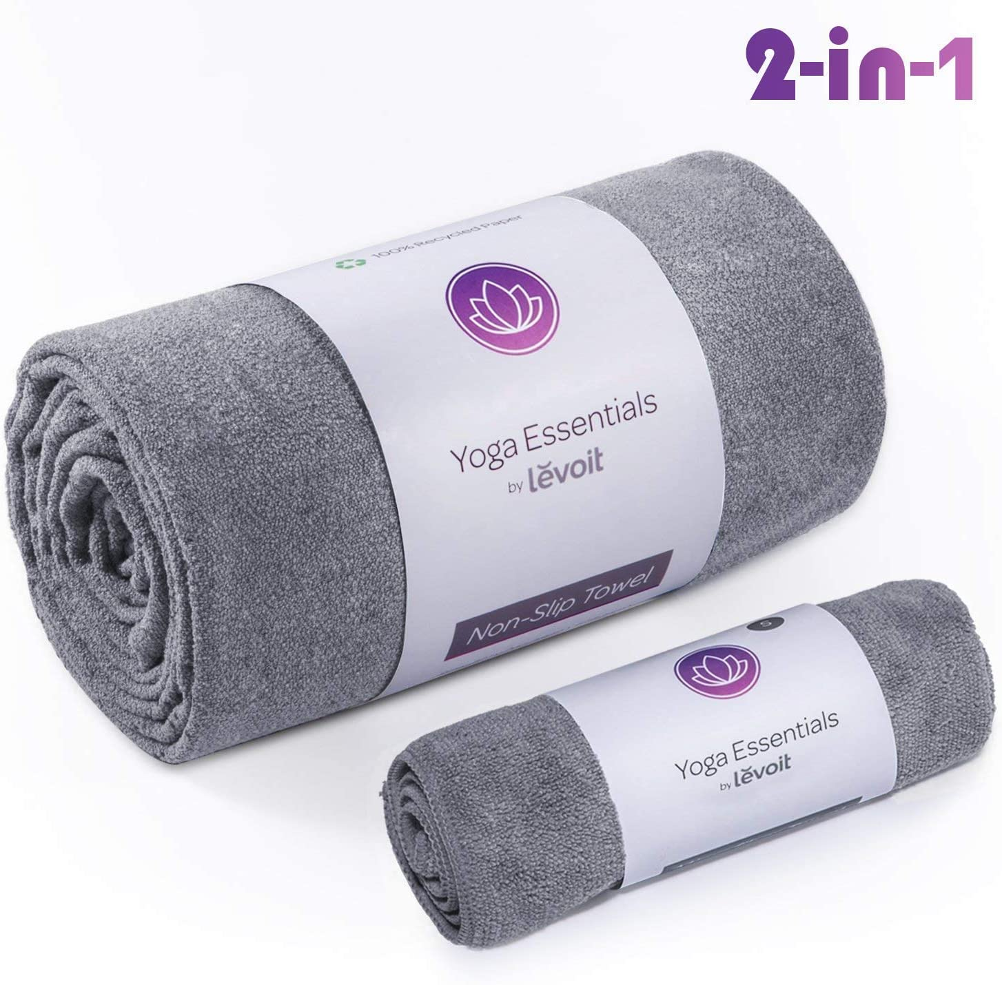 LEVOIT Yoga Mat Towel, Hot Yoga Non-Slip Microfiber Mat Towel, Hand Towel, 2 in 1 Set, Super Soft Sweat Absorbent Fast Dry, Ideal for Pilates, Bikram, Sports, Workout & More