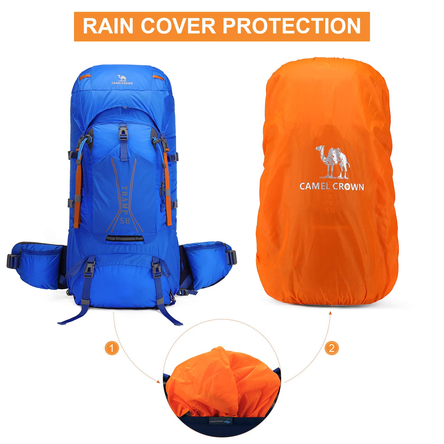 CAMEL CROWN 58L Internal Frame Hiking Backpack Hydration Backpack for Travel Trekking Hiking Camping Climbing Outdoor with Rain Cover