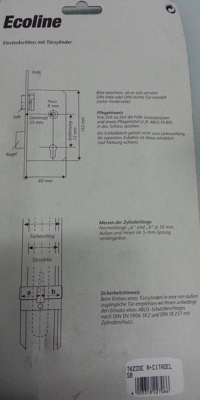 Abus TKZ 20E Einsteckschloss DIN Rechts mit T/ürzylinder Ecoline Citadel 30//30 Mit 3 Schl/üsseln