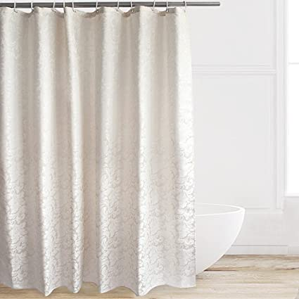Eforcurtain Extra Long Size 72 By 84 Inches Paisley Design Ivory Polyester Shower Curtain Heavy Weight