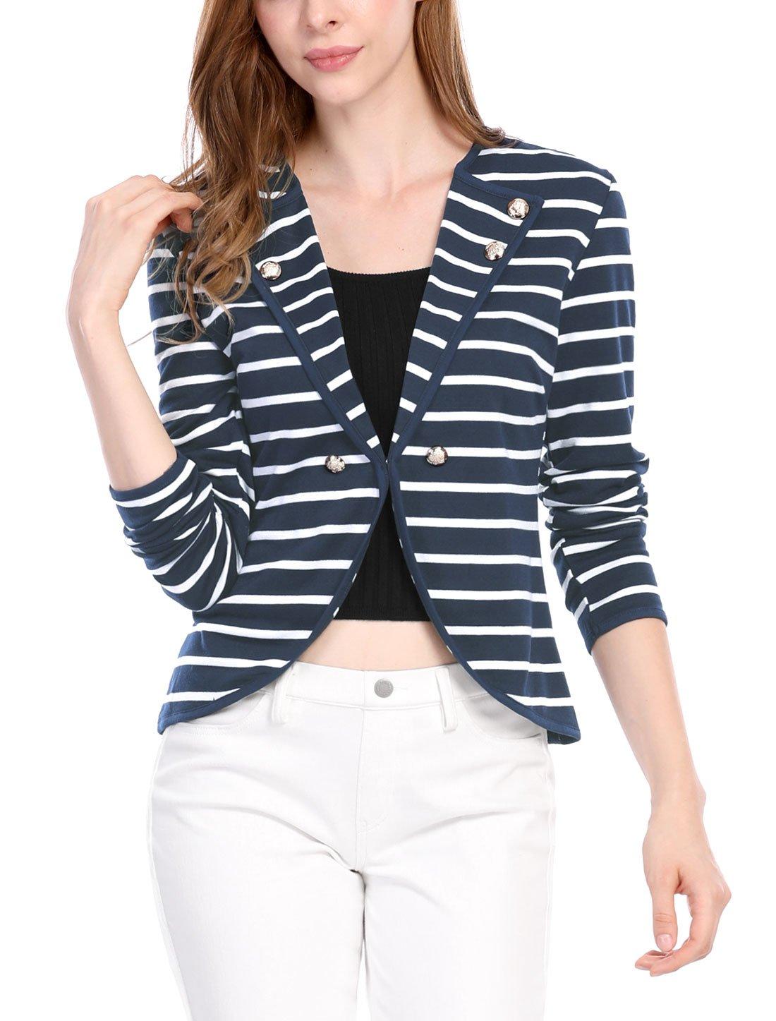 Allegra K Women's Notched Lapel Button Decor Striped Blazer L Blue White