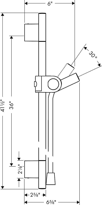AXOR Uno Duschstange 0,90m mit Duschschlauch 1,60m Chrom