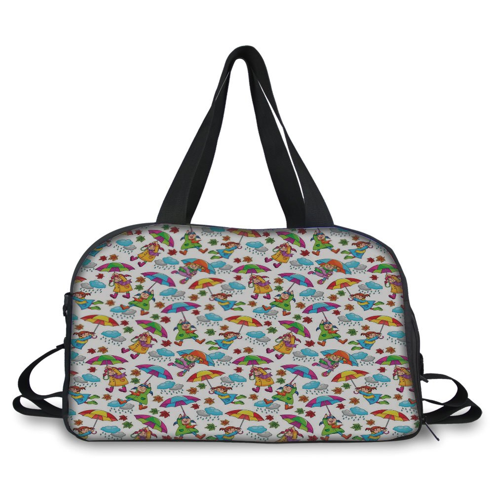 Travelling bag,Kids,Cute Girls in Coats Holding Umbrellas Windy Autumn Weather Rainy Clouds Falling Leaves,Multicolor ,Personalized