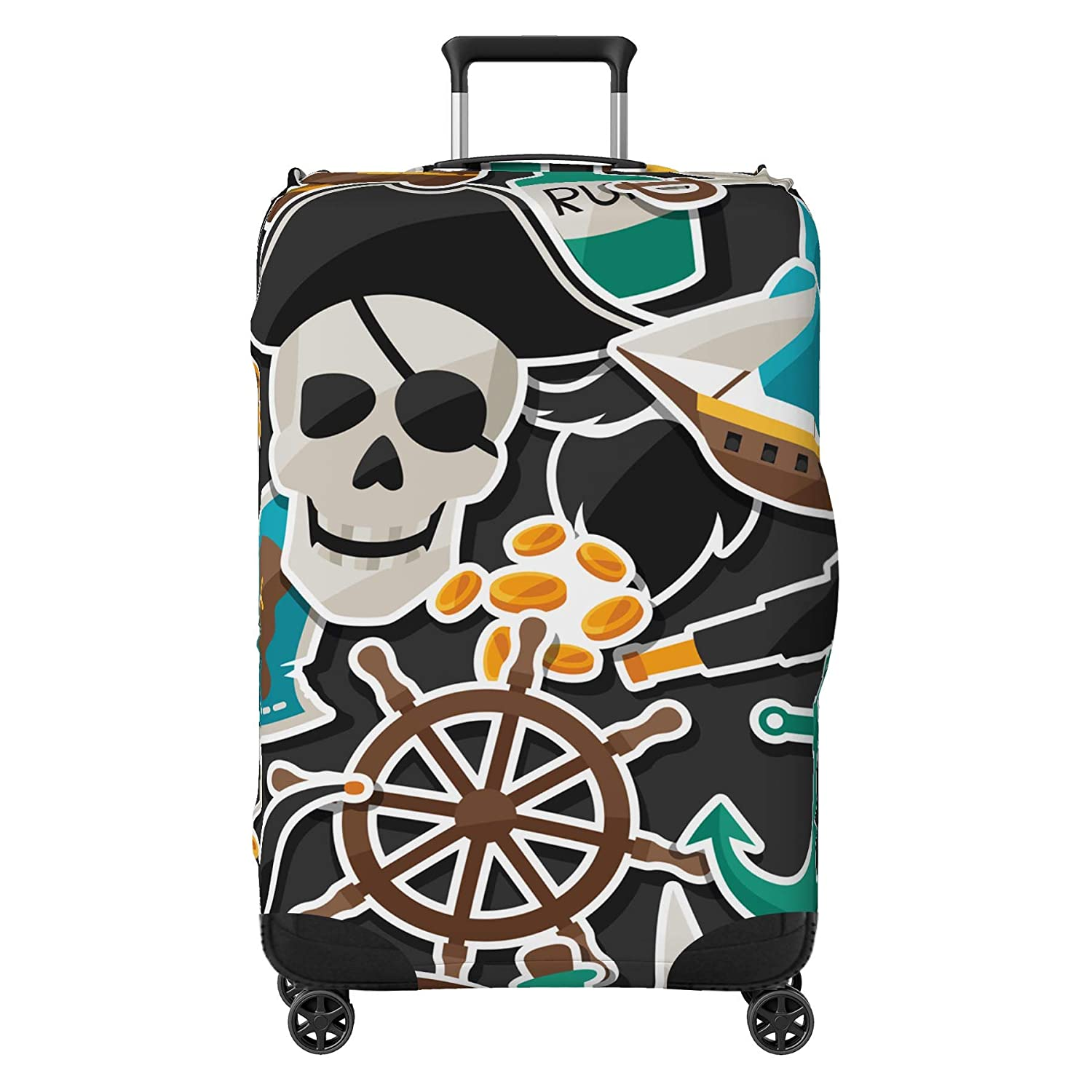 Pirate Skull Design Suitcase Cover Protector Skin Multi-Coloured Small 18-22 Suitcase Not Included