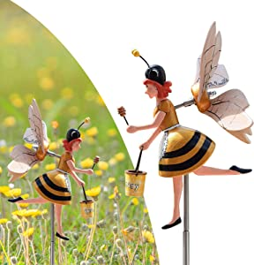 Bee Girl Windmill Whirligig Clown Windmills Miss Bee Garden Art Decor Whirligigs Garden Rotating Bee Girl Wind Spinner Garden Decor Whirligigs Wind Spinners for Patio Lawn Yard Decor C