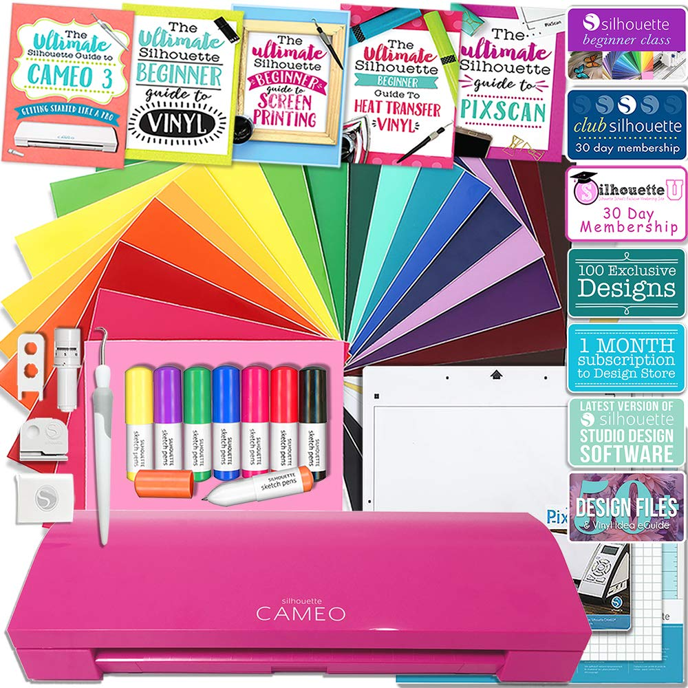 Silhouette Cameo 3 Glitter Pink Edition Bluetooth Educational Bundle Oracal Vinyl, Guides, Class, Membership