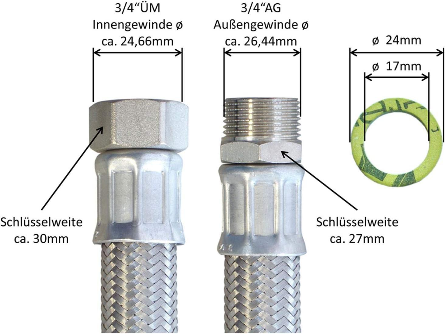 Trinkwasserzulassung Edelstahl Panzerschlauch 3//4/ÜM x 3//4AG L/änge 70 cm,Made in Germany DN19