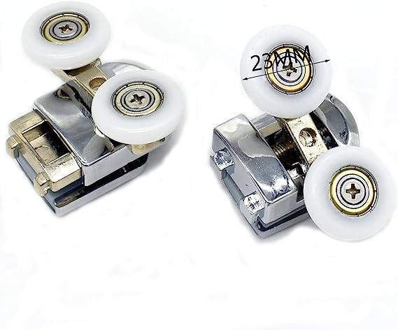 Juego de 4 rodillos dobles para puerta de ducha de 23 mm de diámetro, piezas de recambio: Amazon.es: Bricolaje y herramientas