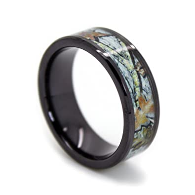 Snow Camo Wedding Rings by 1 CAMO Black Titanium Ring with White