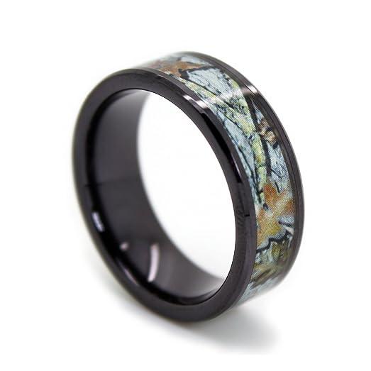 1 camo black titanium snow camo bands black rings snow white camouflage wedding - White Camo Wedding Rings
