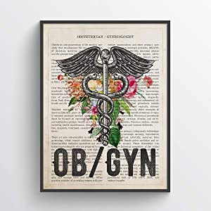 OB-Gyn with Flowers Print, Obstetrician Gynecologist Gift, Gynecology Student Graduation Gift, Gynecologist Office Decor, Medical Wall Art