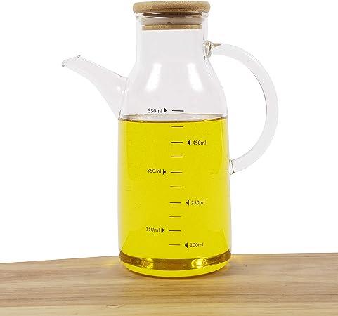 Imagen deOrnami - Dispensador de aceite de oliva y vinagre con tapa de bambú natural y boquilla (550 ml)