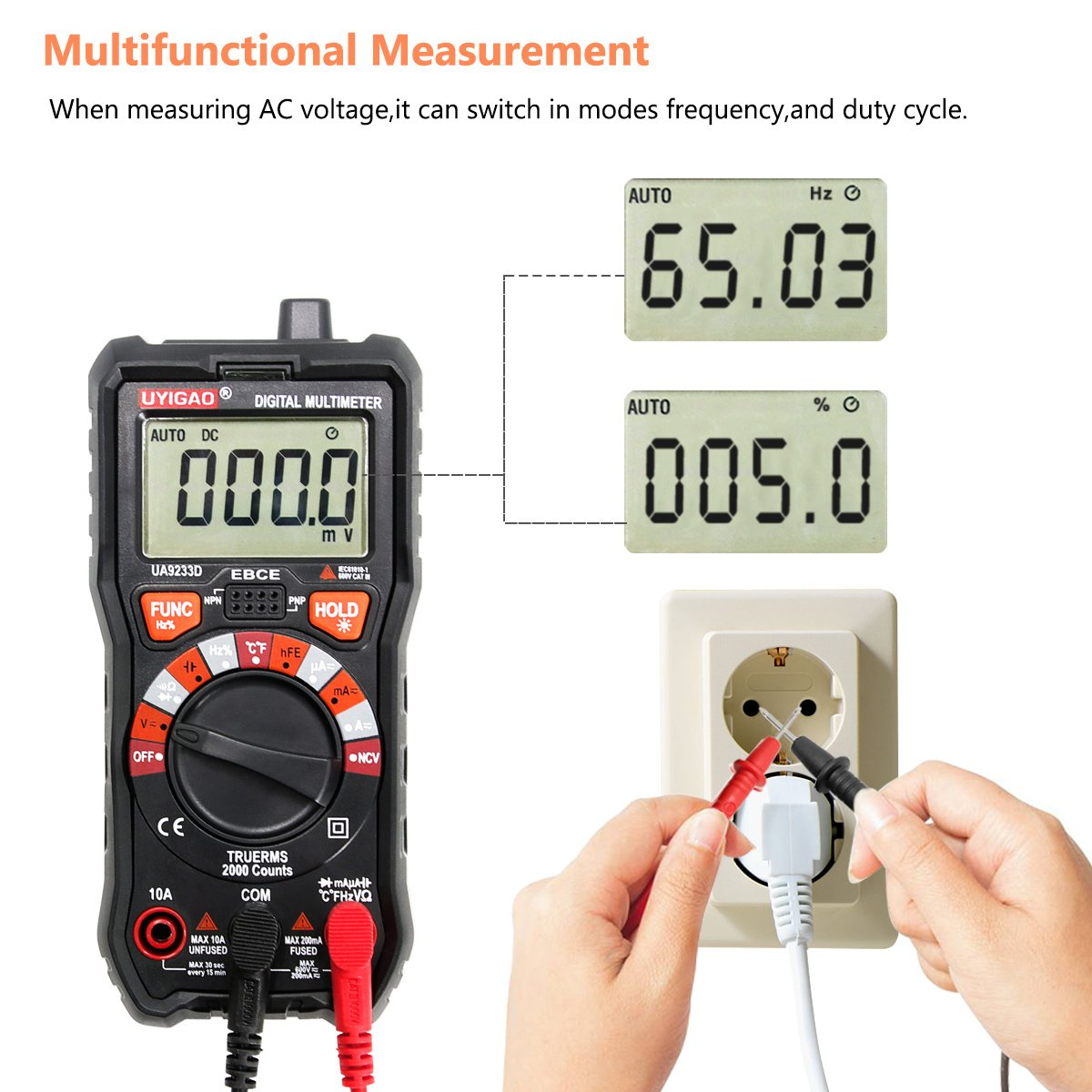 Digital Multimeter UYIGAO Auto-Ranging Digital Multimeters Electronic Measuring Instrument AC Voltage Detector Portable Amp Ohm Volt Test Meter Multi Tester Diode and Continuity Test Scanners Home Use by UYIGAO (Image #4)