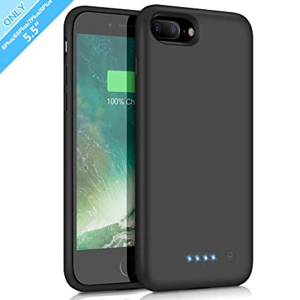 Trswyop 8500mAh Akku Hülle für iPhone 8 Plus/7 Plus/6 Plus/6S Plus, Externe Ladebatterie Backup Schutzhülle Tragbare Handyhül