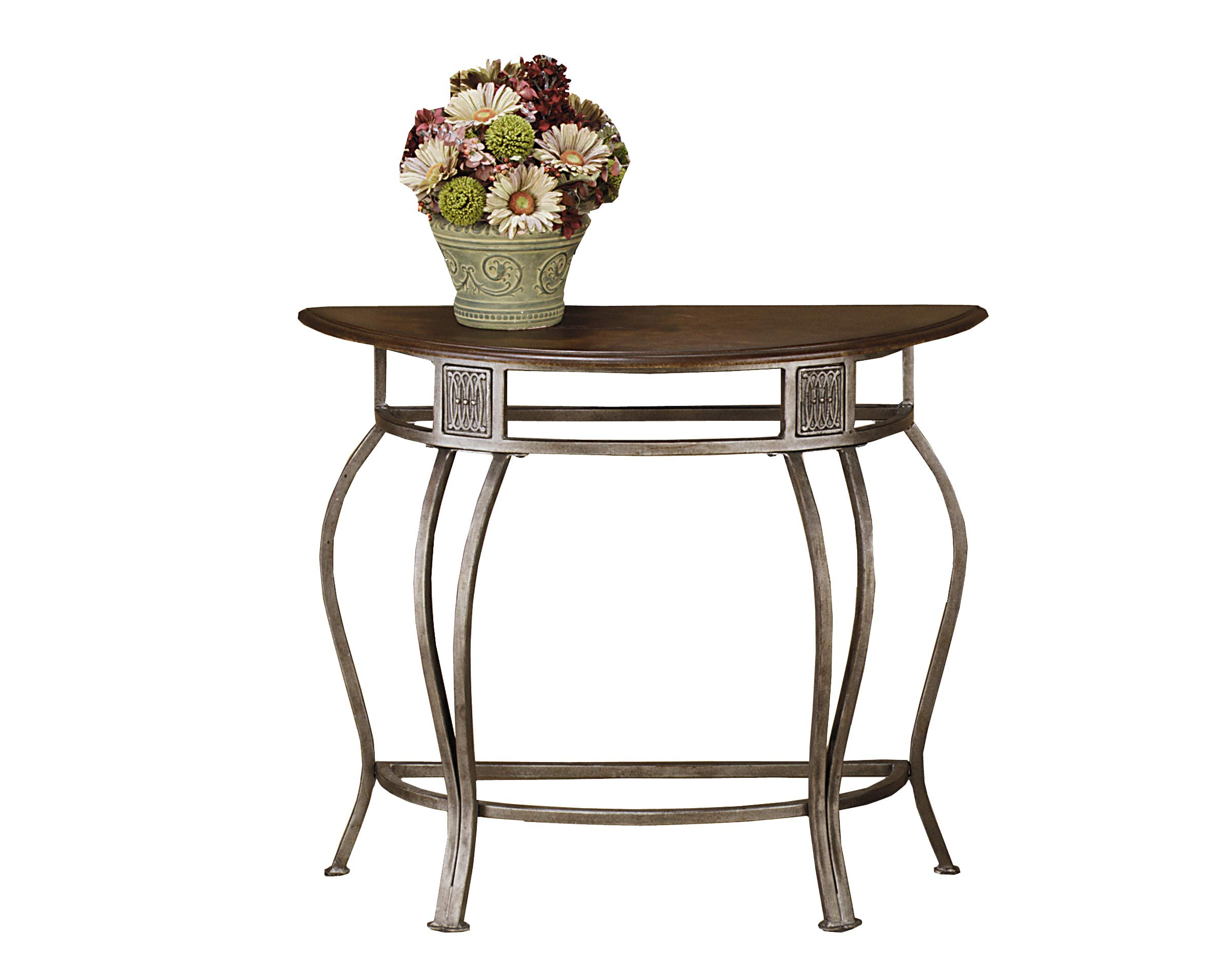 Hillsdale Montello Metal Console Table with Faux Leather Wood Top, Old Steel