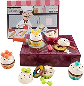 TOP BRIGHT Pretend Play Wooden Cake Set Toys - for 2-3 Years Old Girls Toddlers, Kitchen Cupcake Food Decorate Cakes, Learning Fine Motor Skills, Color & Shape Recognition