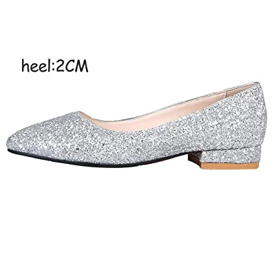 ca76b5e9 Amazon.com | FINDYOU Red Gold Silver Round Toe Thick Heel Shoes Party  Wedding Bride Fashion Glitter High Heels Shoes Woman Pumps, 2cm Silver, 11  | Pumps