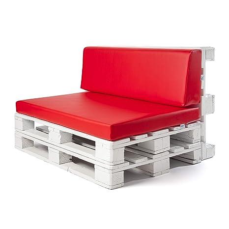 Conjunto colchoneta para sofas de palet y respaldo Rojo (1 x Unidad) Cojin relleno con espuma. | Cojines para chill out, interior y exterior, jardin | ...