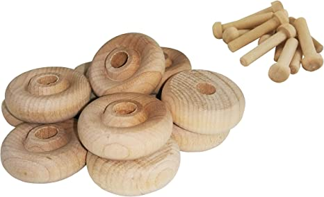 Pack of 8 including axles 1.25/'/' Birch Wooden Wheel