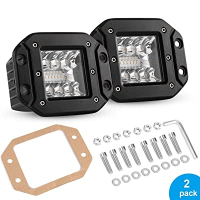 "5"" Flush Mount LED Pods, 80W LED Backup Lights IP68 Waterproof Reverse Grill Mount Off Road Fog Light Work Light Bar for Pick-up Truck Jeep Camper ATV UTV SUV Motorcycle Boat,2PCS: Automotive"