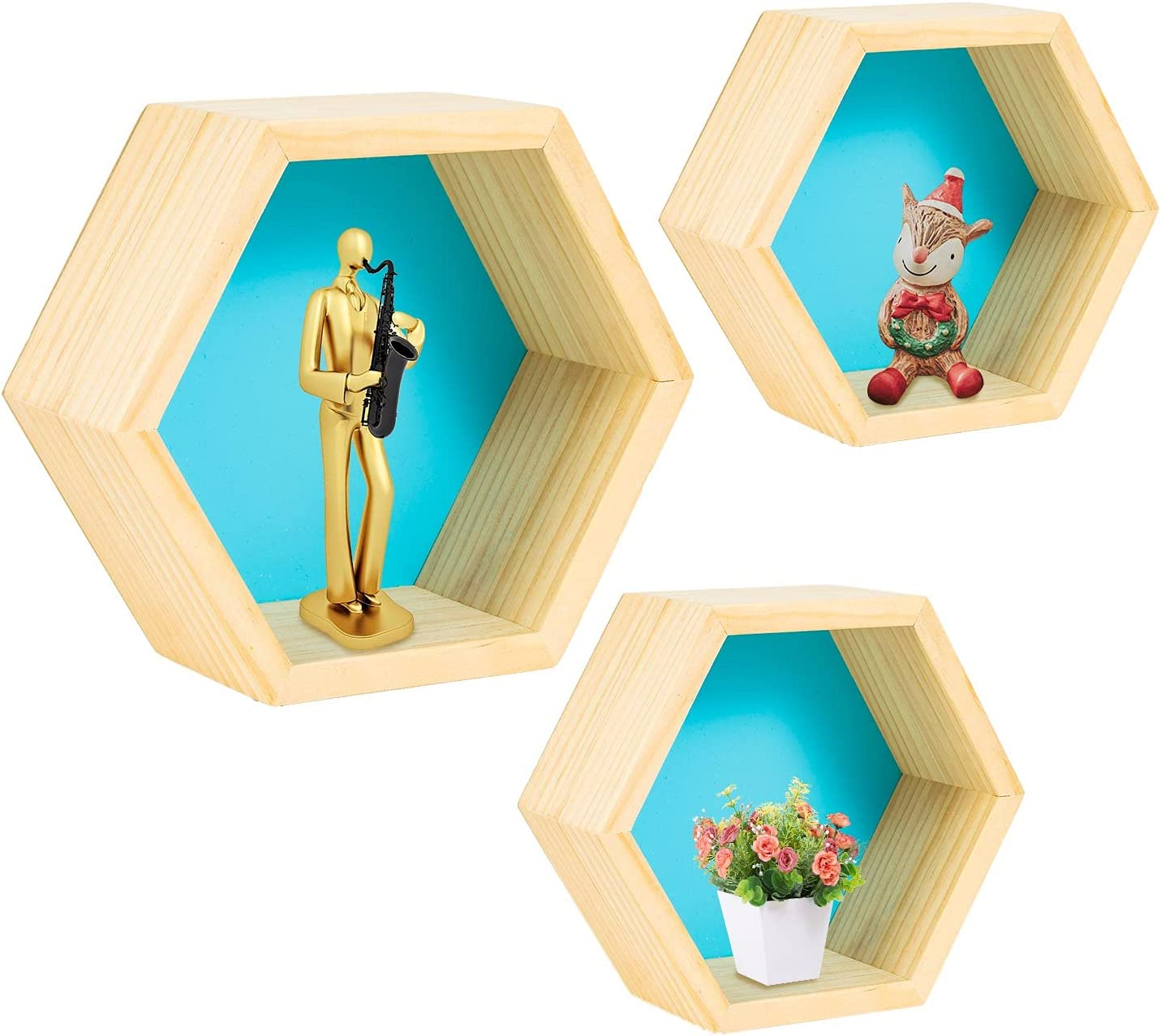 Floating Shelves Wall Mounted Set of 3, Geometric Hexagon Shaped Storage Shelves Home Decor for Bedroom, Hallway, Office, Living Room, Kitchen (Blue)