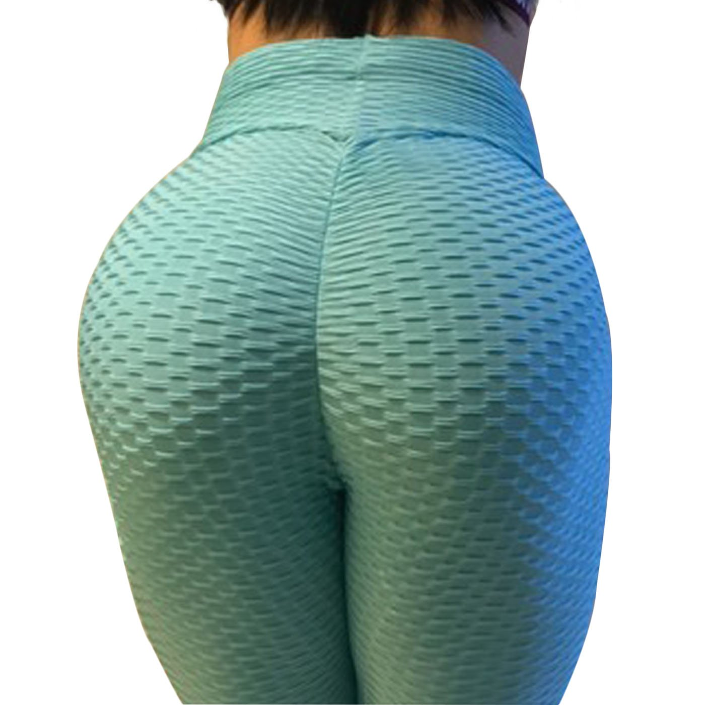 CPHMP Women's High Waist Ruched Butt Lifting Slimming Leggings Textured Stretchy Skinny Yoga Pants Thights (M, Blue)