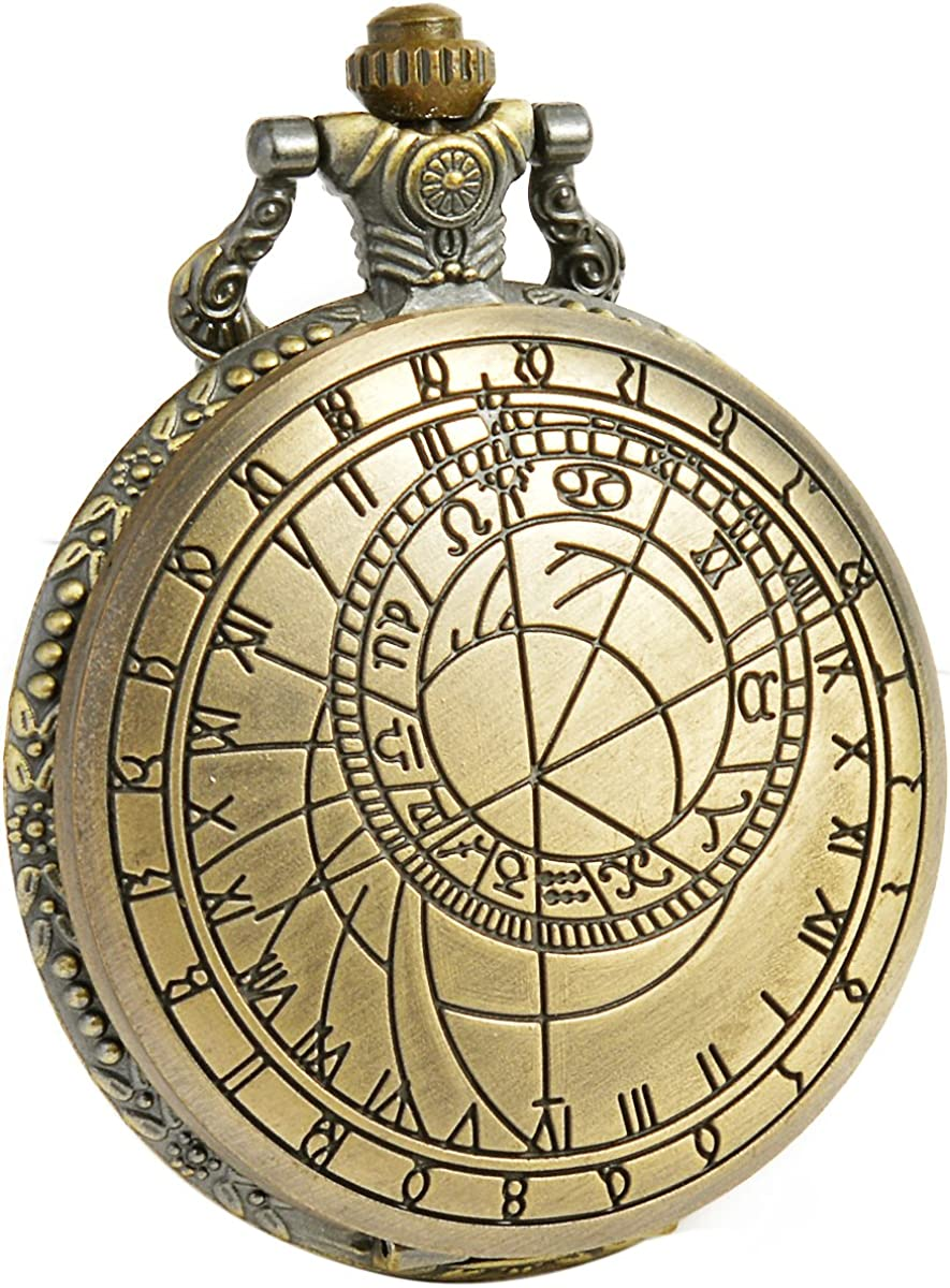Vintage Dr Who Pocket Watch with Bronze Case Quartz Full Hunter White Dial and Chain,SIBOSUN Doctor who Watch with Gift Box