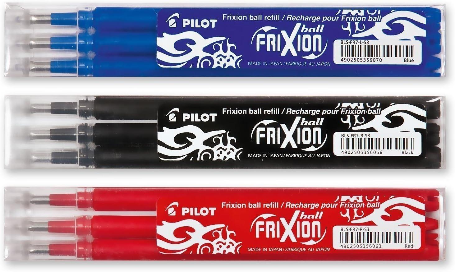 Pilot Frixion – Sets de 3 bolígrafos roller de tinta en los colores azul, rojo, negro, 3 x 3 unidades (total 9 unidades)