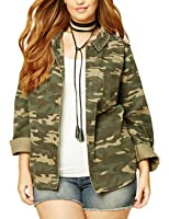 Plus Size Camouflage Military Jacket - Camo Print at Amazon ...