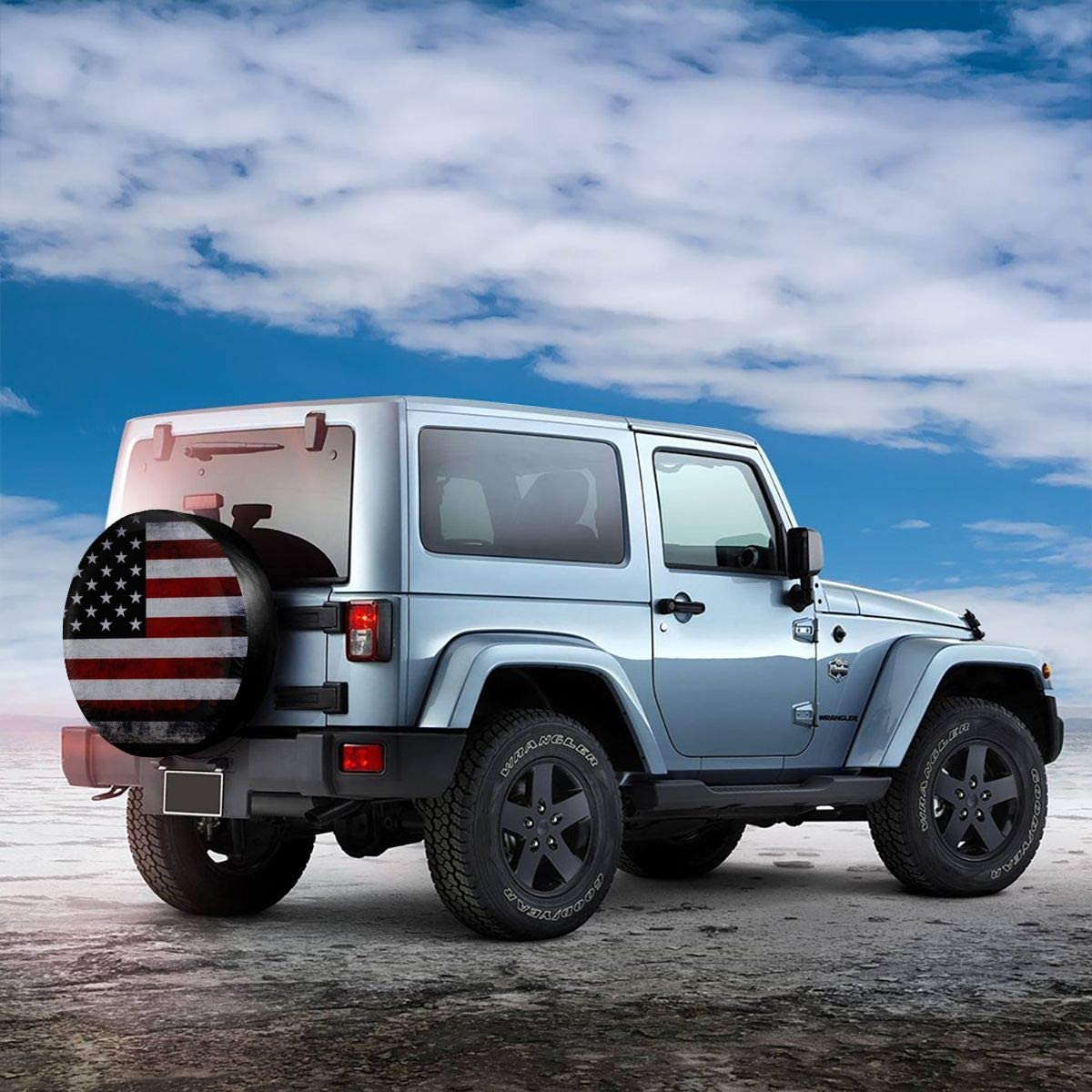 Jackmen Spare Tire Cover American Flag Polyester Universal Sunscreen Corrosion Protection Wheel Covers for Jeep Trailer RV SUV Truck and Many Vehicles 14 15 16 17