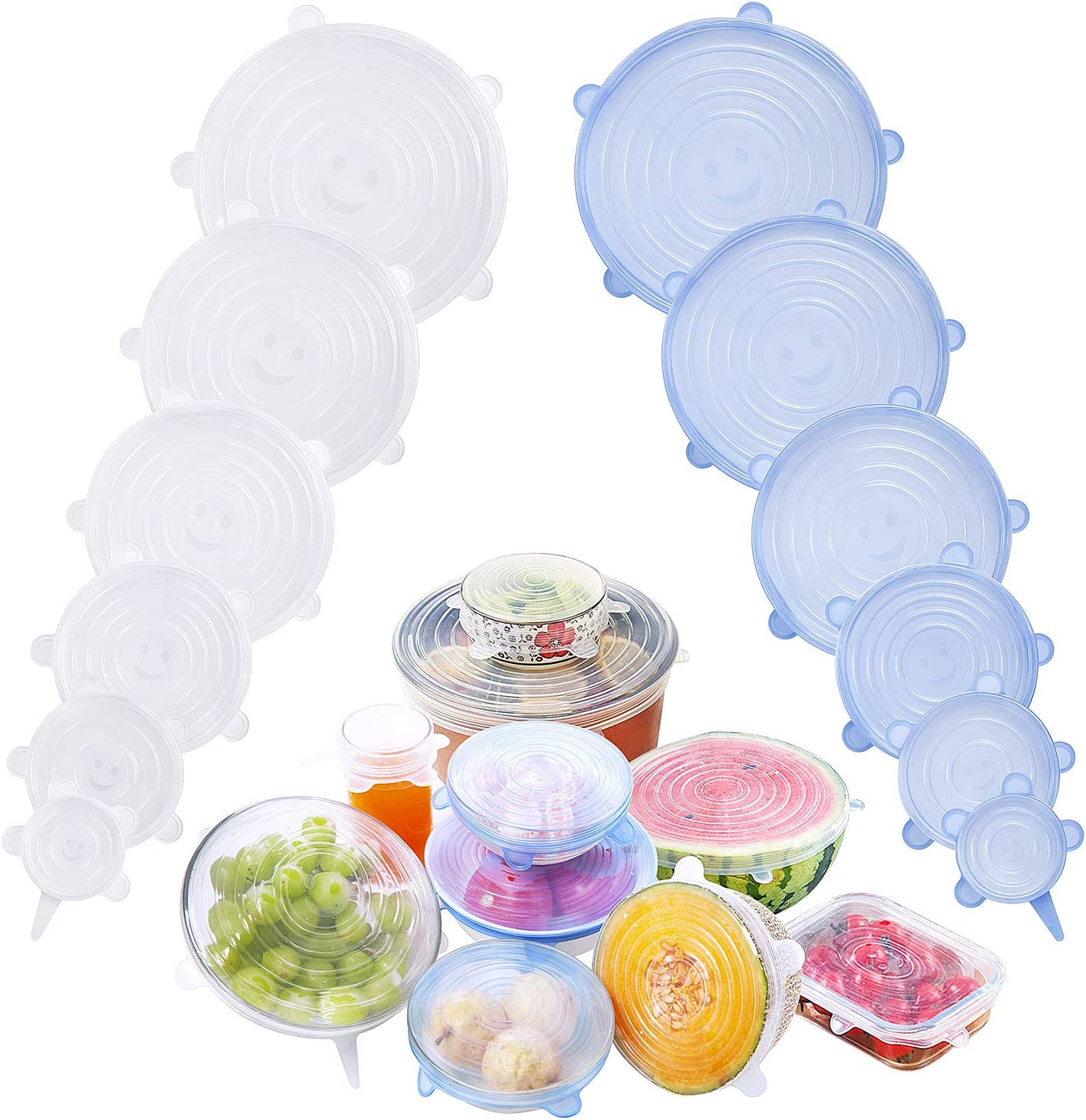Silicone Stretch Lids 12 Pack,Silicone Stretch Lids and Food Covers BPA-Free Food Grade Silicone Eco-Friendly Reusable Durable and Expandable Lids Various Sizes & Shapes Cover for Food & Container