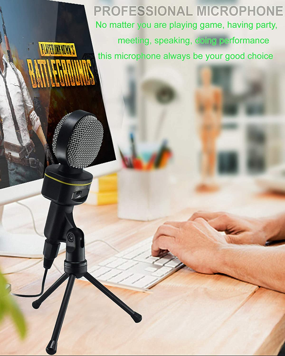 Condenser Microphone 3.5mm Jack Plug and Play Computer Microphone with Desktop Stand Ideal Reccording for YouTube Live Broadcast Business Teleconference Skype
