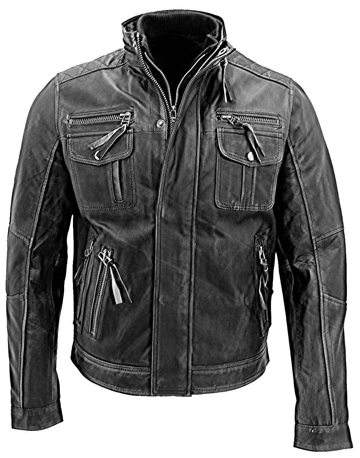 Distressed leather Gray Color biker Style Café Racer Original Leather Jacket 2nd Skin ●→ hgh-001-gray