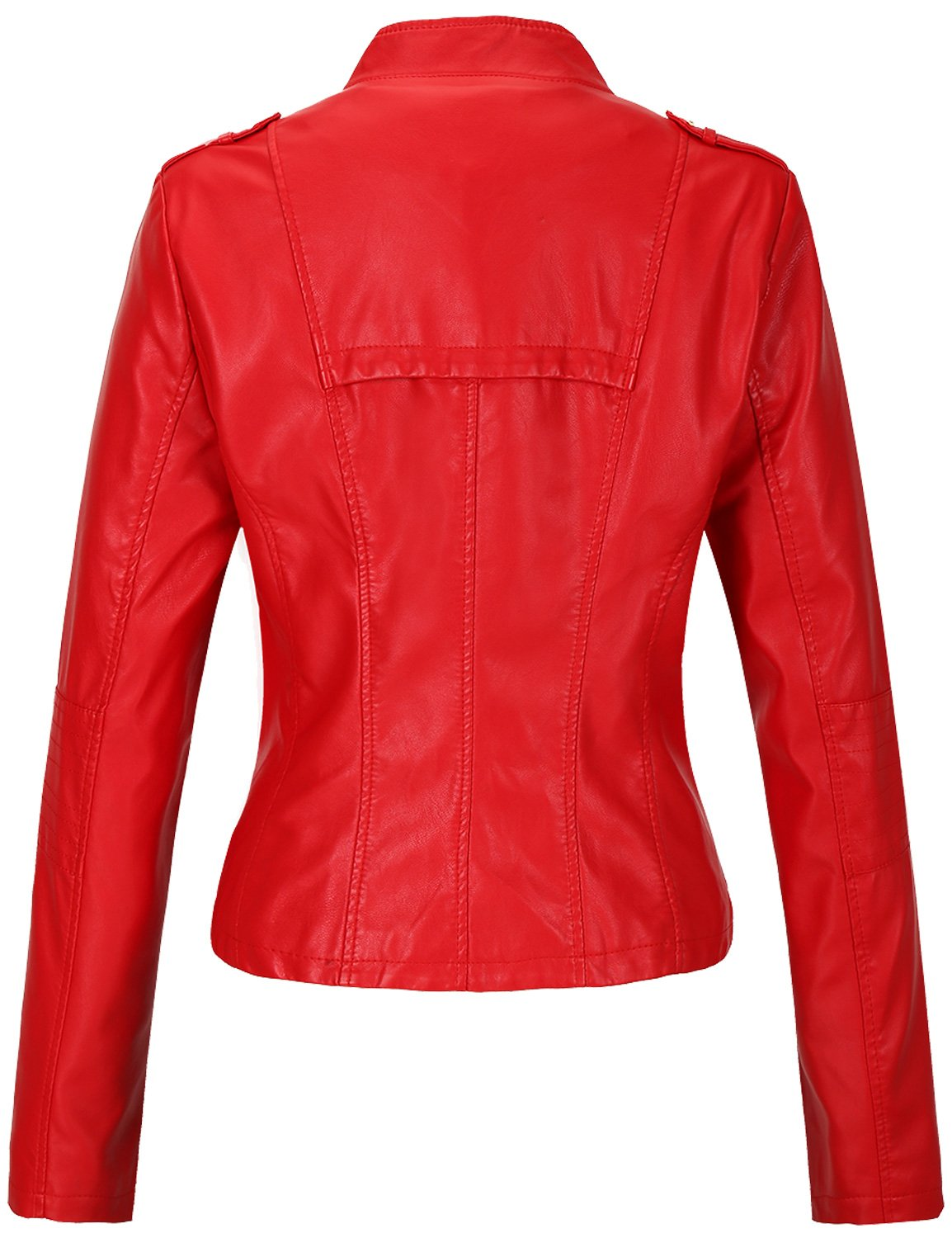 Tanming Women's Slim Zipper Color Faux Leather Jacket Red (Large, Red) by Tanming (Image #2)