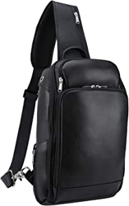 Polare Modern Style Sling Shoulder Bag Men's Travel/Hiking Daypack with Real Italian Leather and YKK Zippers(Medium)