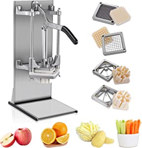 Home Commercial Vegetable Chopper with 4pcs Blades 1/4'' 3/8'' 6 8 Wedge Heavy Duty Professional Manual French Fry Cutter Food Dicer Chopper Onion Fruit Slicer Stainless Steel for Potato Tomato