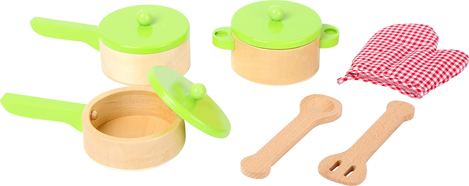 small foot wooden toys Cooking Set, incl. one, Two Pans, Utensils and Pot Glove, The Ideal complement to Any Children's Play Kitchen Designed for Children 3+