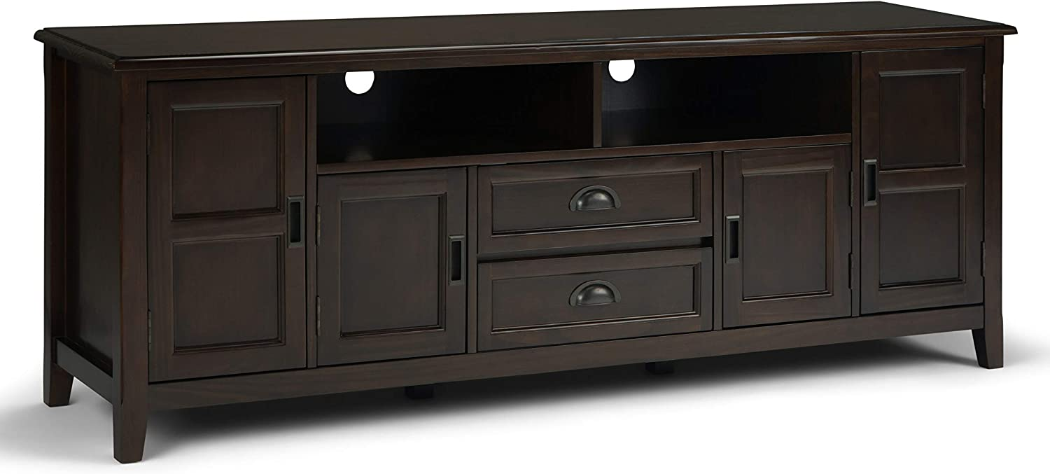SIMPLIHOME Burlington SOLID WOOD Universal TV Media Stand, 72 inch Wide, Traditional,Entertainment Center, Storage Shelves and Cabinets, for Flat Screen TVs up to 80 inches, Mahogany Brown