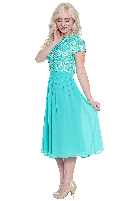 Jen Olivia Lace & Chiffon Modest Dress, Modest Semi-Formal Dress ...