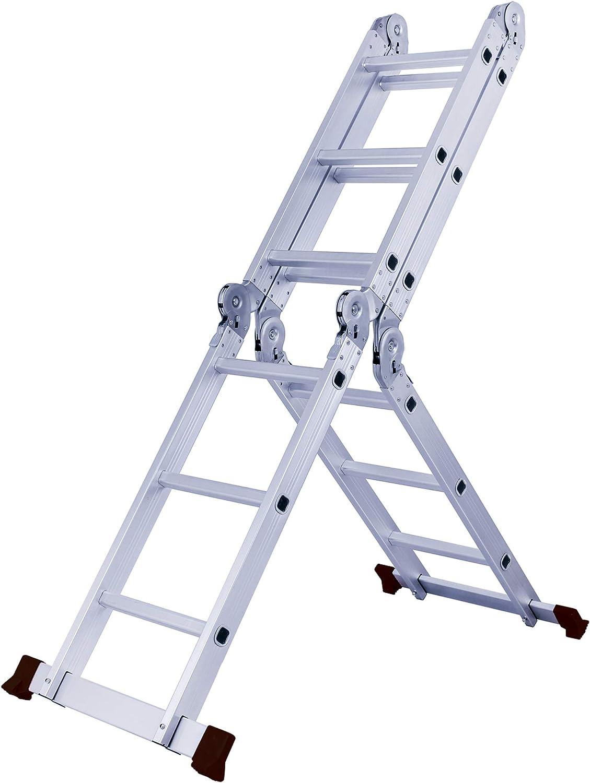 GYD Herzberg HG-5002 - Escalera multifunción (Aluminio, 3,70 m, telescópica, multifunción, Escalera Plegable, Escalera de Tijera de Doble Cara y Escalera): Amazon.es: Juguetes y juegos