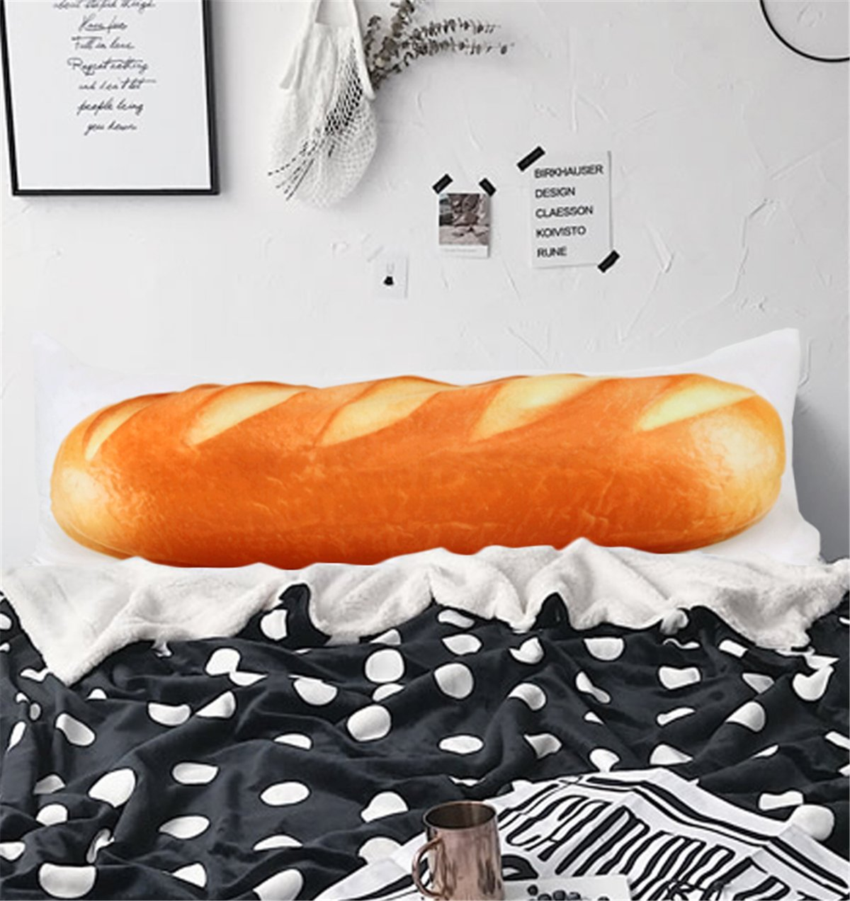 ARIGHTEX White Wheat Bread Body Pillow Cases 20 x 54 3D Yummy French Stick Body Pillow Cover for Kids Adults (1 Piece)