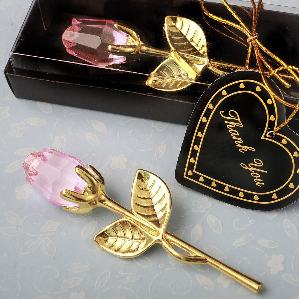 84 Crystal Gold Long Stem Pink Roses