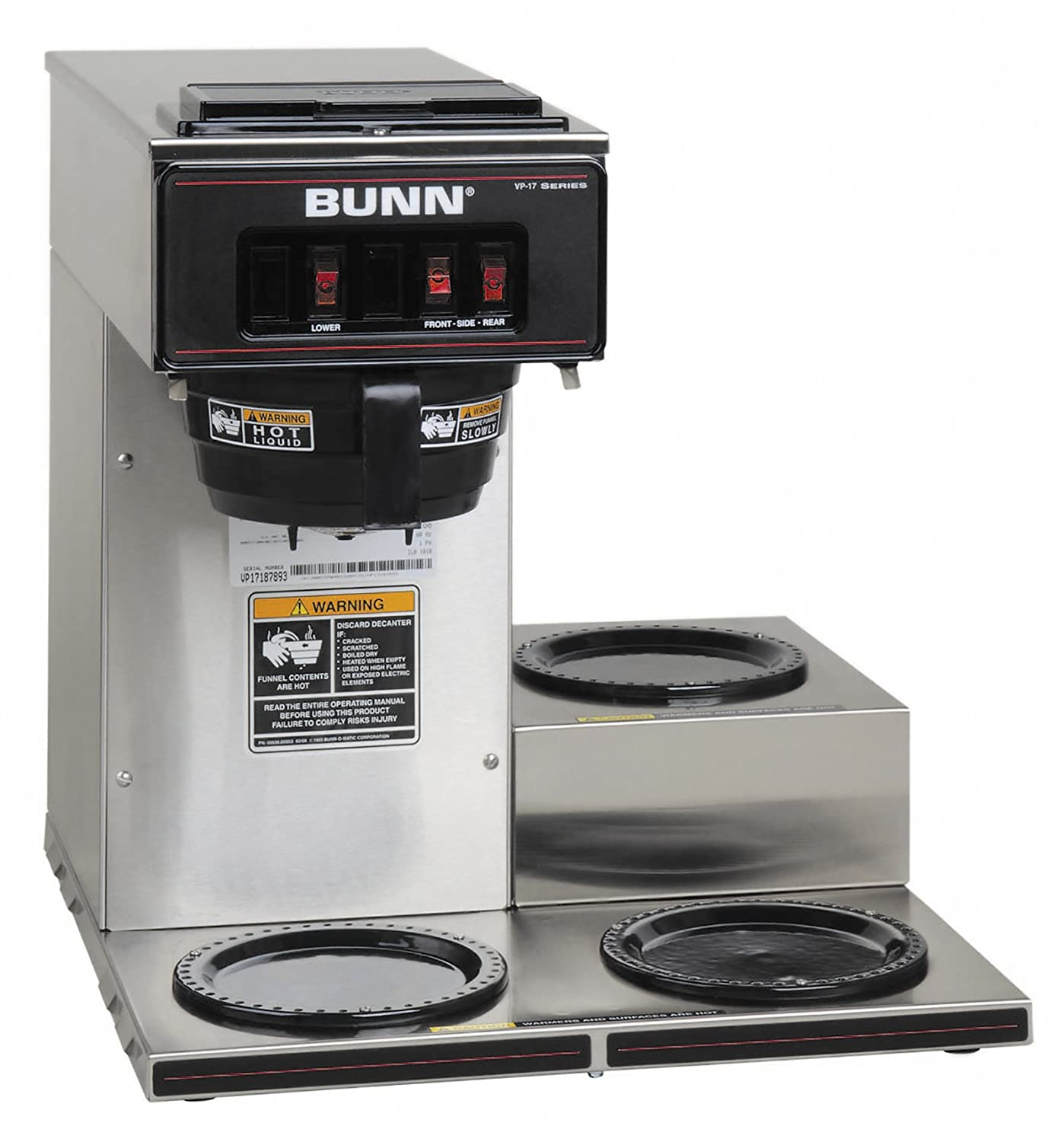 BUNN 13300.0003 VP17-3SS3L Pourover Commercial Coffee Brewer with 3 Lower Warmers, Stainless Steel (120V/60/1PH) 71ieextr-FL._SL1500_