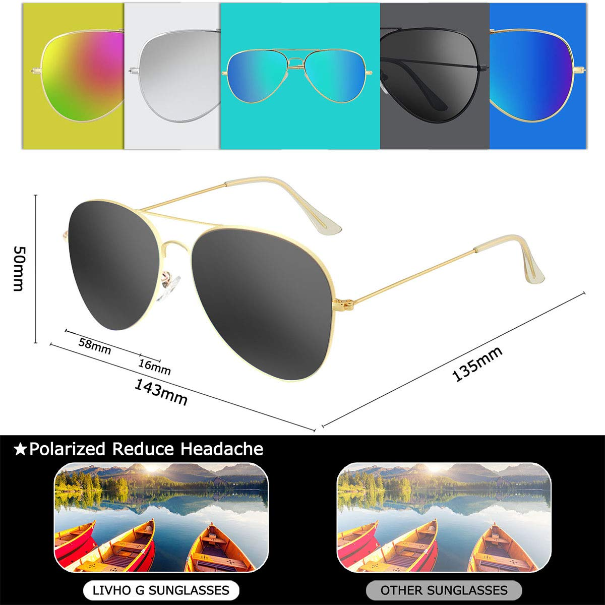 Livhò Sunglasses for Men Women Aviator Polarized Metal Mirror UV 400 Lens Protection (Gold Grey+Blue Green) by Livhò (Image #3)