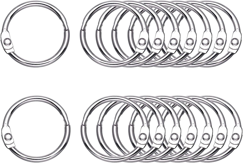 """Antner 100 Pieces Loose Leaf Binder Rings, 1"""" Diameter, Nickel Plated Metal Office Book Rings Key Rings : Office Products"""