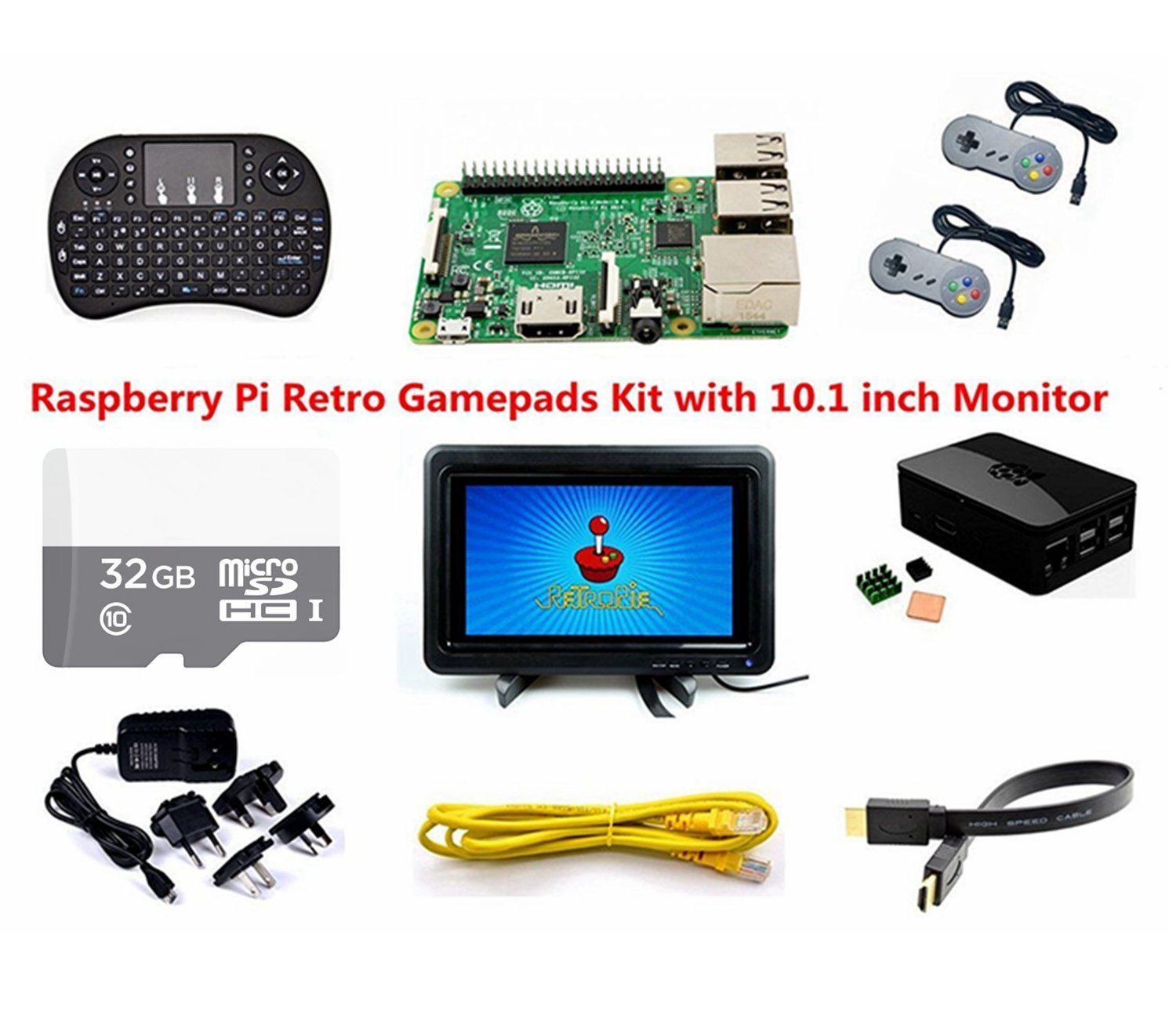 Raspberry Pi Retro Gamepads Kit with 10.1 inch Monitor